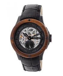 Belmont black leather skeleton watch
