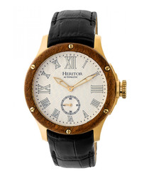 Montrichard gold-tone & leather watch