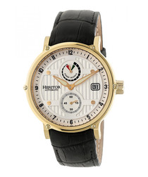 Leopold black & cream leather watch