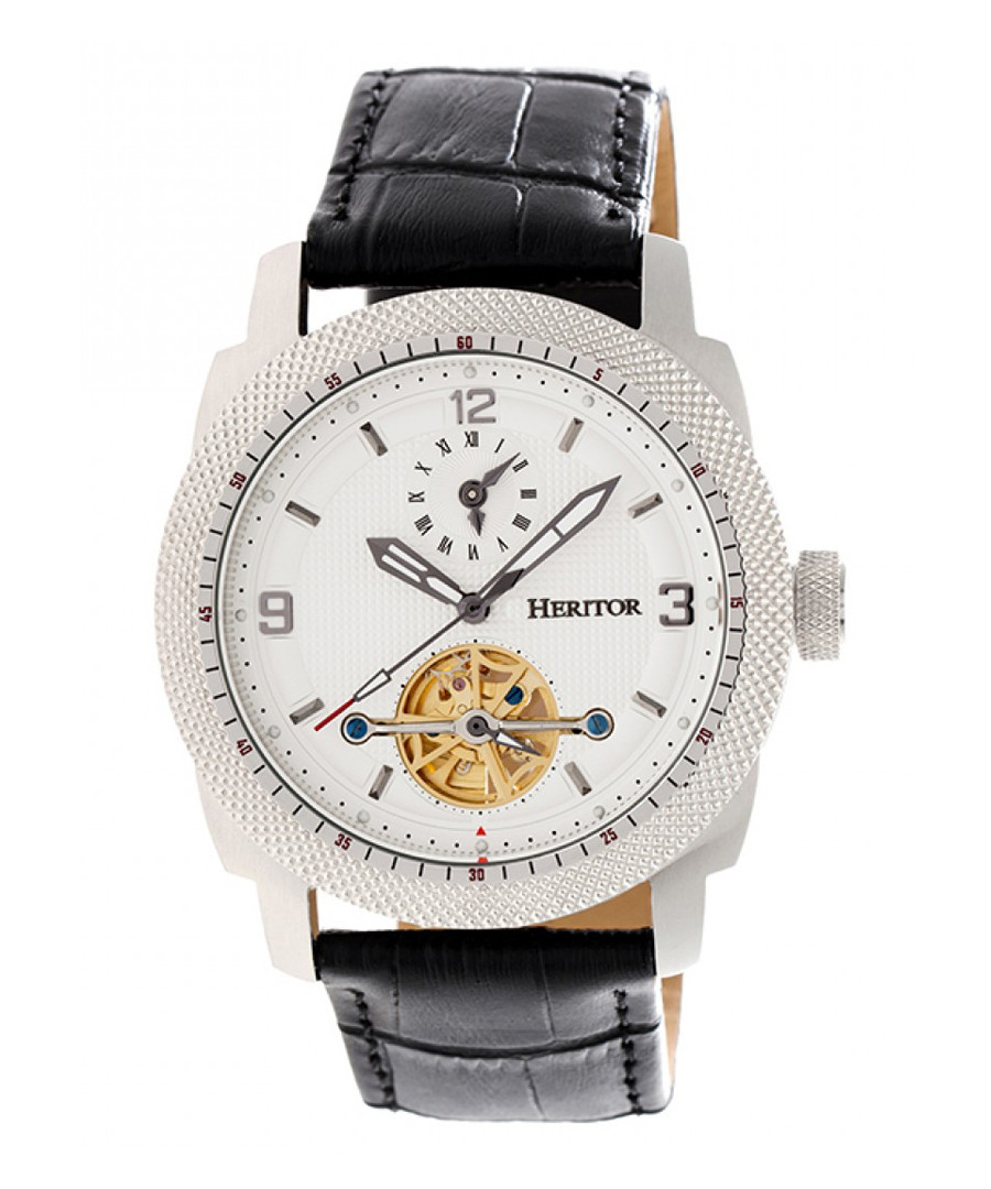 Helmsley black & white leather watch Sale - heritor automatic