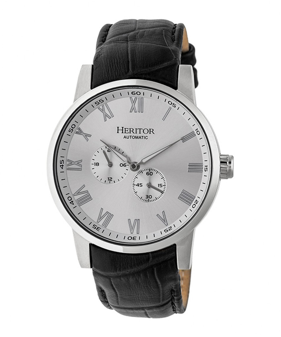 Romulus black & silver leather watch Sale - heritor automatic