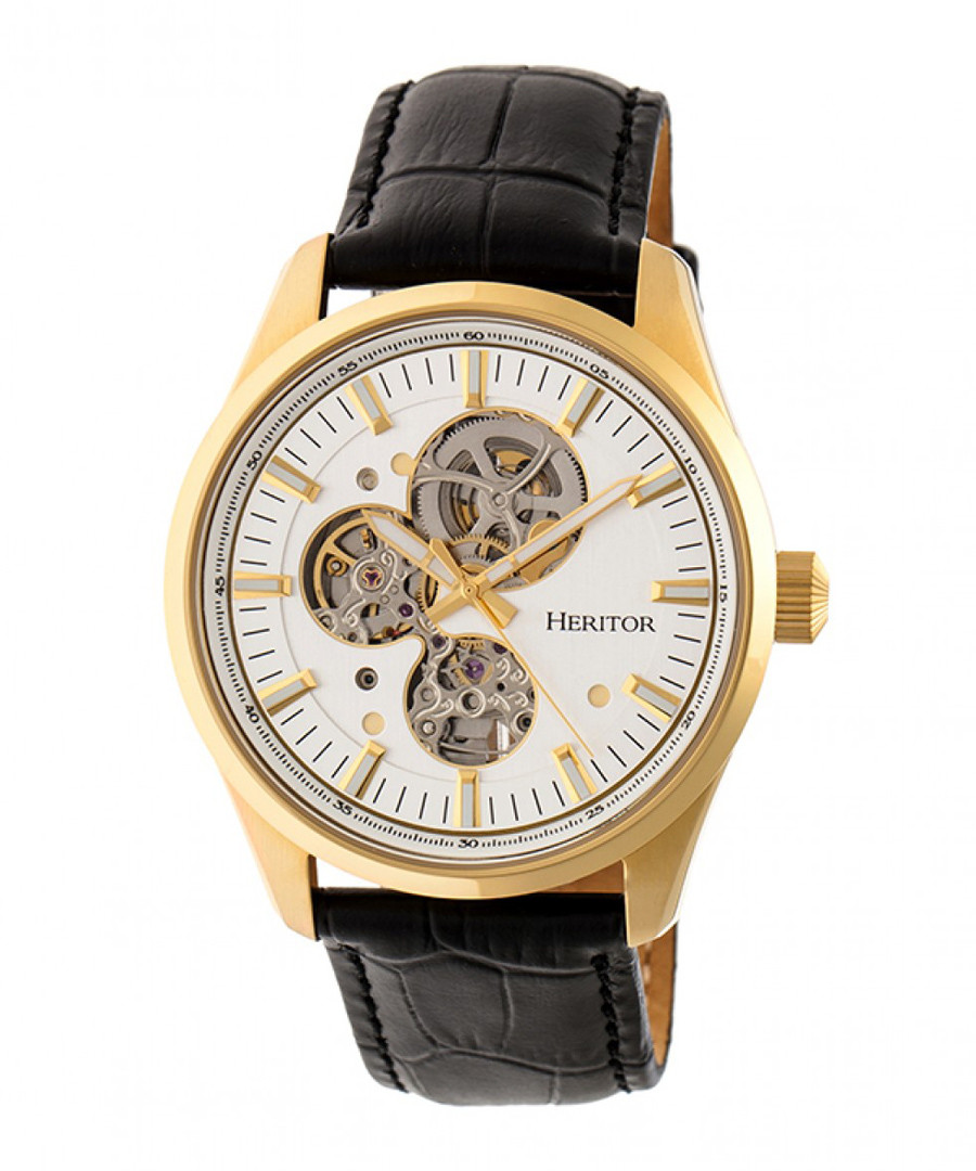 Stanley black & gold-tone leather watch Sale - heritor automatic