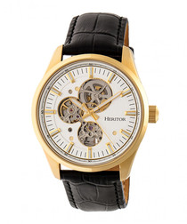 Stanley black & gold-tone leather watch