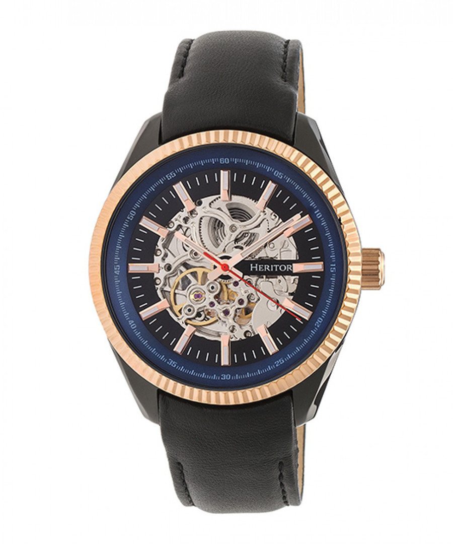 Desmond black & gold-tone leather watch Sale - heritor automatic