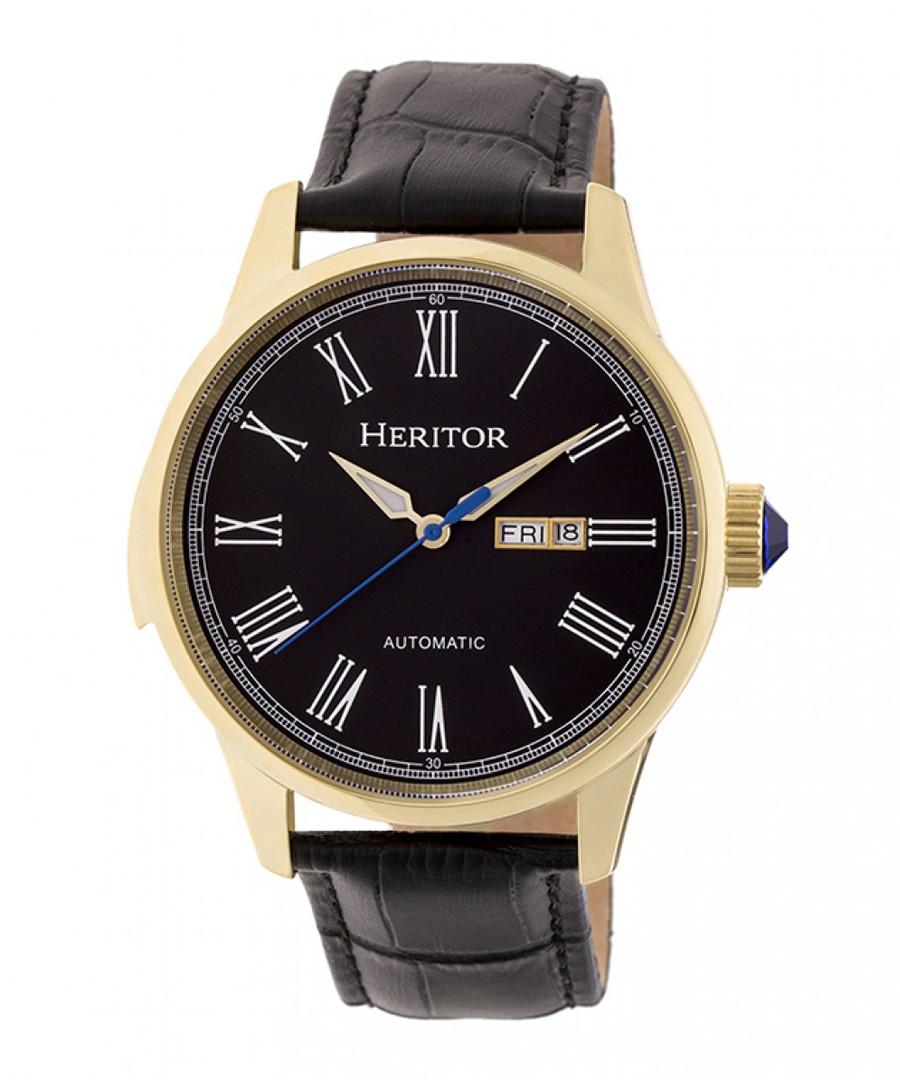 Prescott black & gold-tone leather watch Sale - heritor automatic
