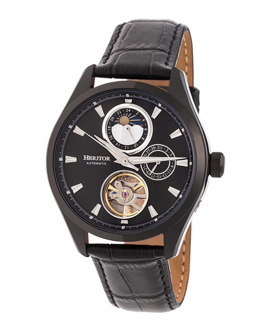 Sebastian black leather exposed watch Sale - heritor automatic