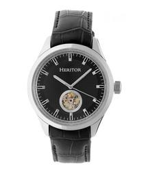 Crew black & silver-tone leather watch