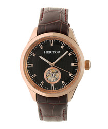 Crew brown & gold-tone leather watch