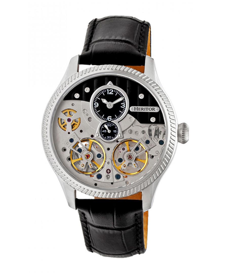 Winthrop black leather moc-croc watch Sale - heritor automatic