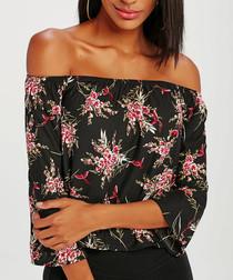 Black cotton blend floral blouse