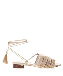 Sand leather fringed lace-up sandals