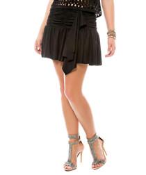 Black ruched flared mini skirt