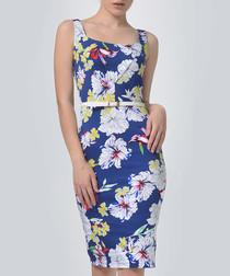 Blue cotton blend sleeveless dress