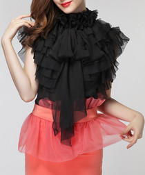 Black high-neck short sleeve blouse