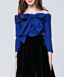 Blue off-the-shoulder bow blouse