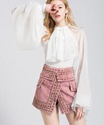 White bell sleeve ruffle blouse
