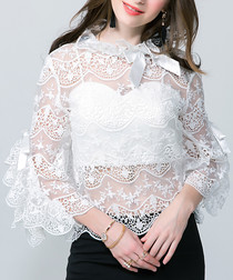 White sheer lace overlay blouse