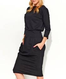 Black cotton blend long sleeve dress