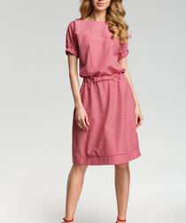 Red cotton blend knee-length dress
