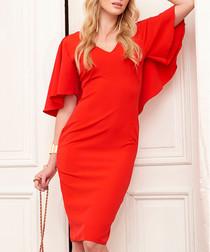 Red ruffle sleeve V-neck dress