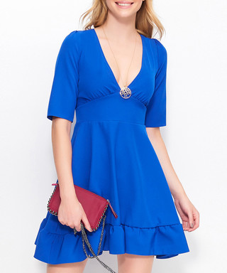 fa19aa8511f0 Cornflower V-neck ruffle mini dresss Sale - Makadamia Sale