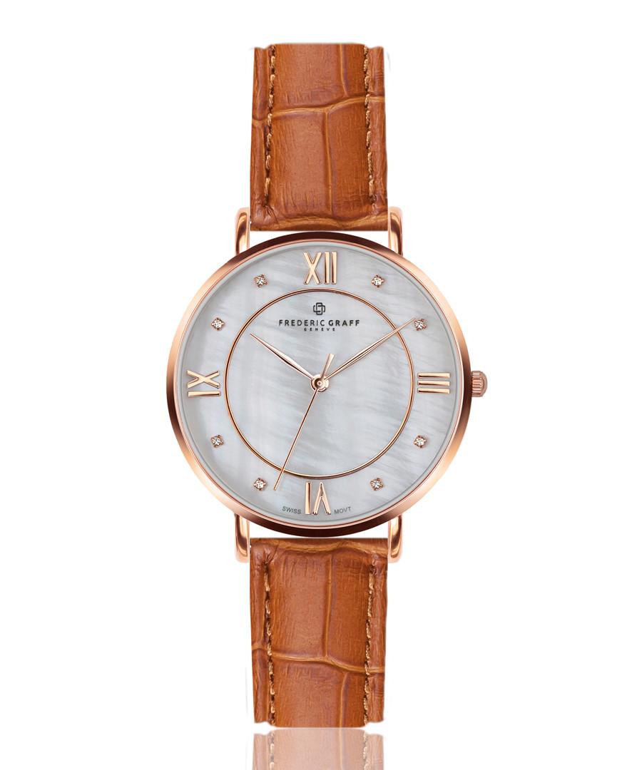 Liskamm brown leather moc-croc watch Sale - frederic graff
