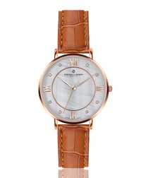 Liskamm brown leather moc-croc watch