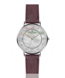 Liskamm bordeaux leather watch