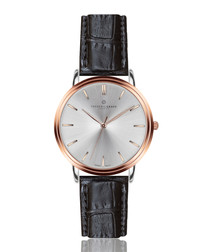 Breithorn black leather moc-croc watch