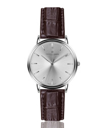 Breithorn brown leather moc-croc watch