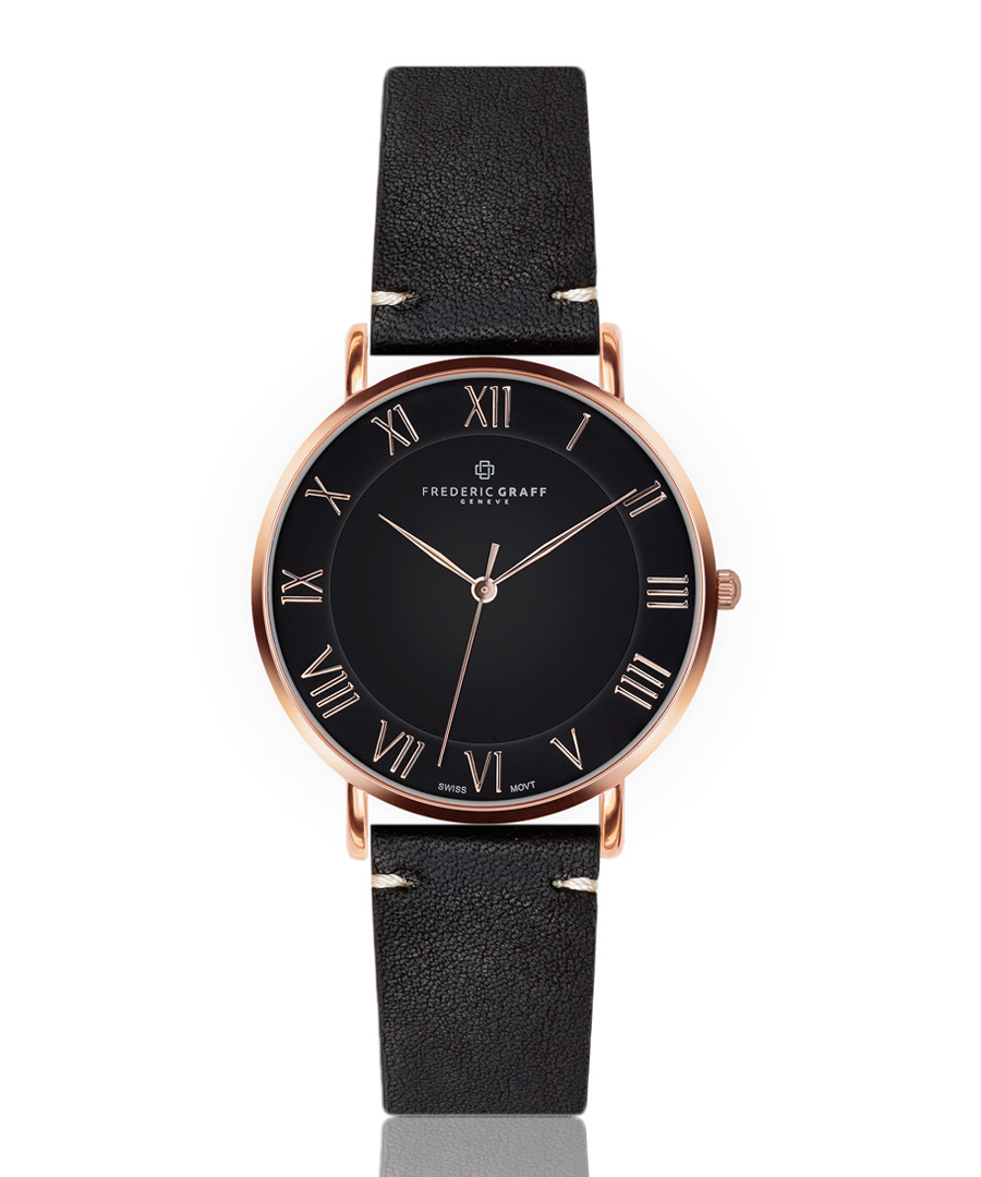 Dom rose gold-tone & black leather watch Sale - frederic graff