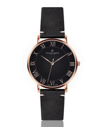 Dom rose gold-tone & black leather watch