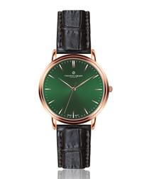 Grunhorn black leather moc-croc watch