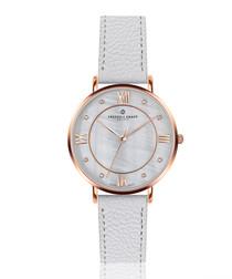 Liskamm white leather watch
