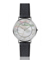 Liskamm black leather watch
