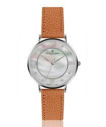 Liskamm ginger brown leather watch