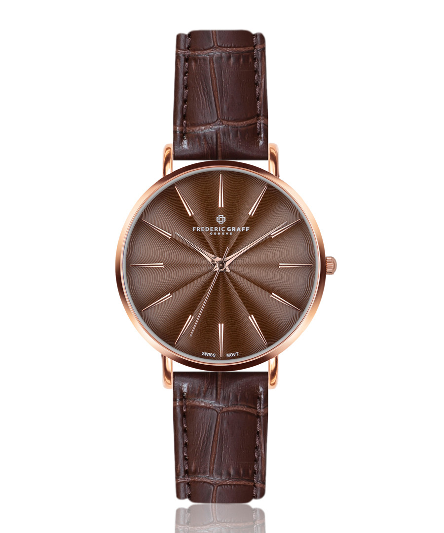 Monte brown leather moc-croc watch Sale - frederic graff