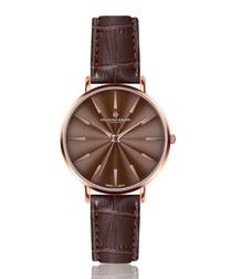 Monte brown leather moc-croc watch