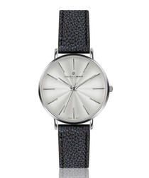 Monte black leather watch