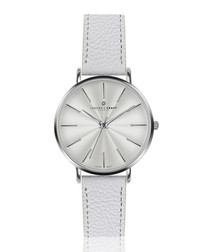 Monte white leather watch