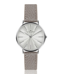 Monte silver-tone & grey leather watch