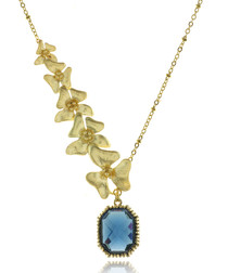 Fleurs 14ct gold-plated & blue necklace
