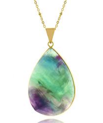 Teardrop Fluorite gold-tone necklace