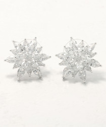 Snowflakes Sparkles rhodium-plated studs