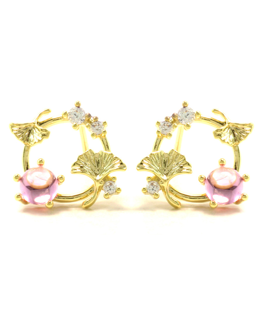 Gingko Dance 14ct gold-plated studs Sale - fleur envy