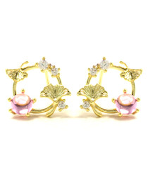 Gingko Dance 14ct gold-plated studs