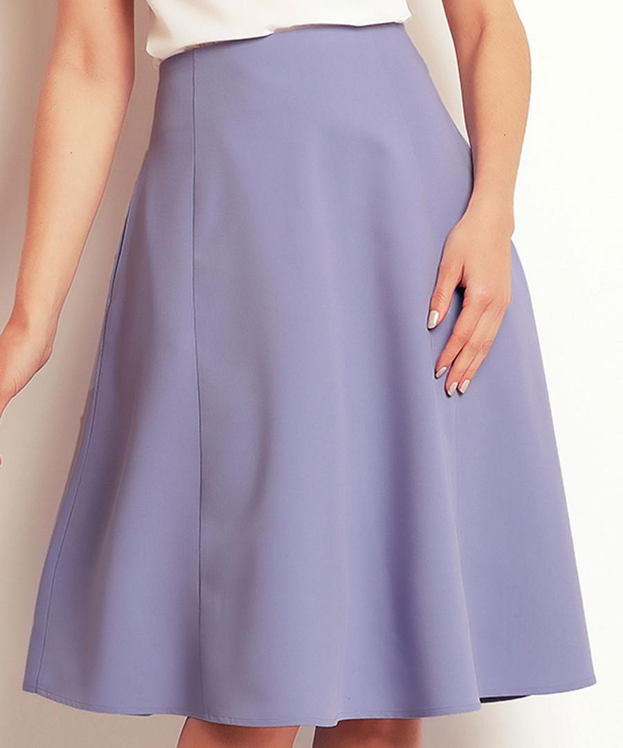 Light blue flared knee-length skirt Sale - awama