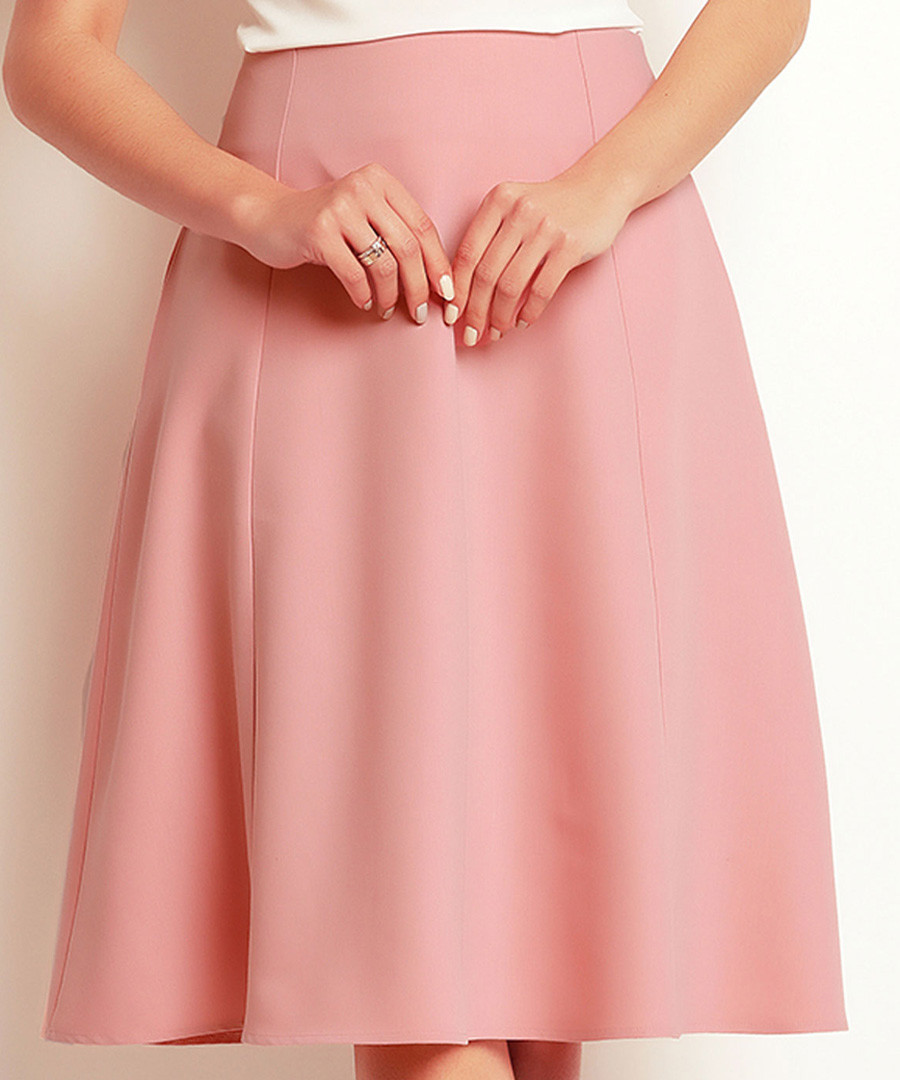 Powder Pink flared knee-length skirt Sale - awama
