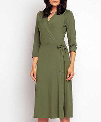 Olive long sleeve wrap midi dress