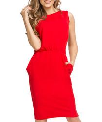 Red cotton blend sleeveless dress